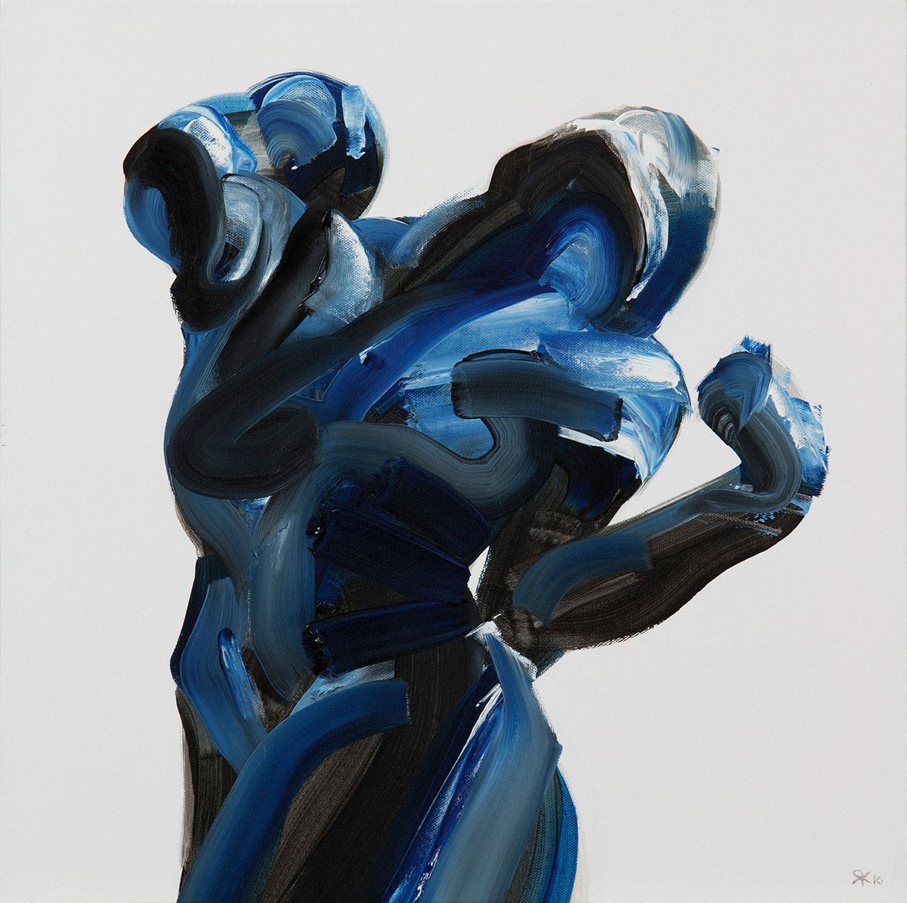 Salman Khoshroo, dark figure study,52x52cm, oil on canvas.