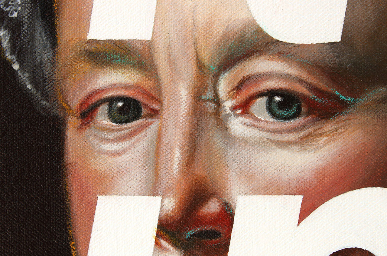 Shawn Huckins, Mrs. John Winthrop, (Read My Lips Baby, You're Shit Out of Luck) (detail), acrylic + pencil on canvas, 35.5 x 29 in (90 x 74 cm), 2011. Private collection, Holladay, UT.