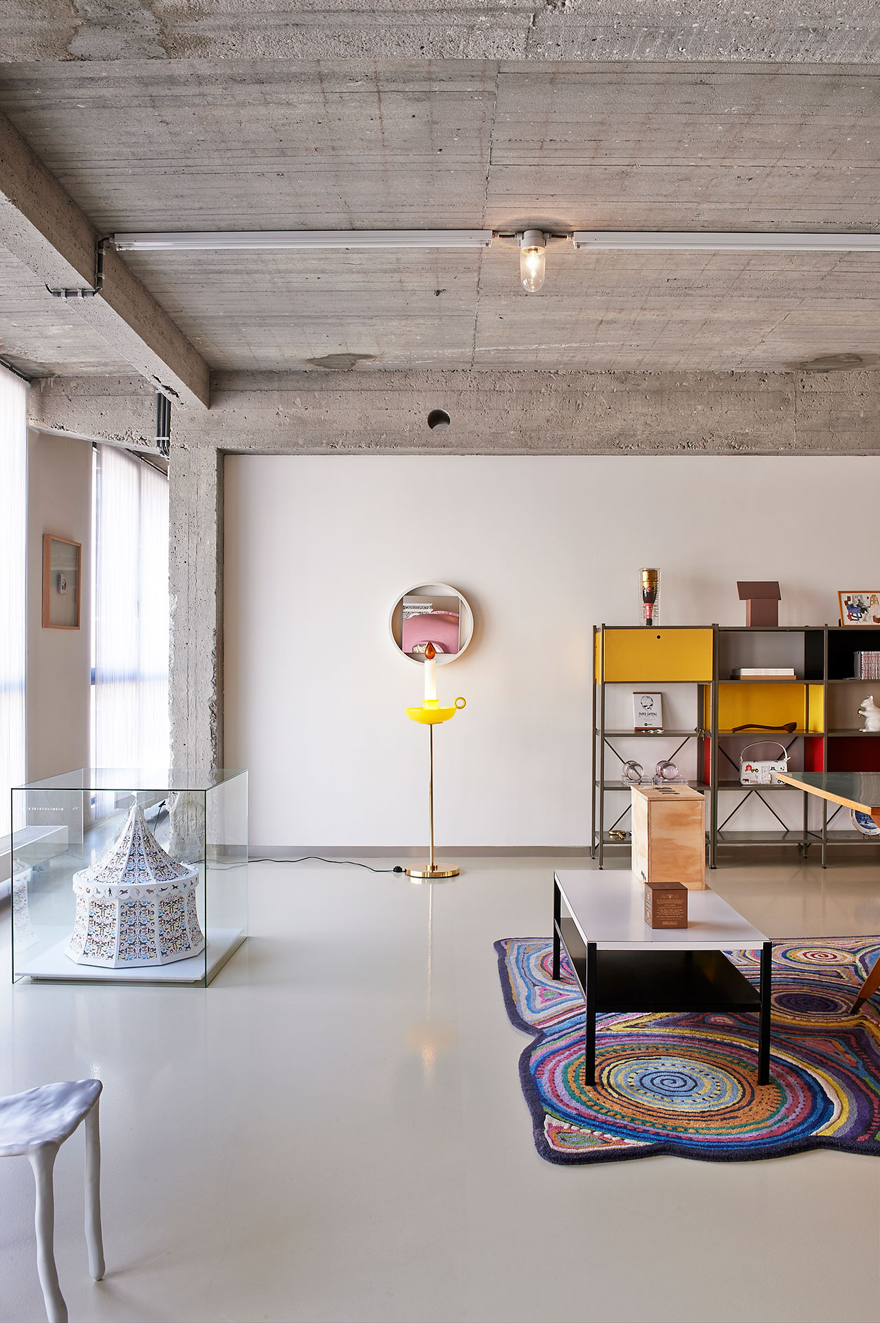 Office.Circus, Studio Job.Sconce, Studio Job for Venini.Mirror, Benno Premsela.Sushi, Campana Brothers for Nodus.Children's Clay Chair, Maarten Baas.Shelves, Wim Rietveld and André Cordemeyer for Gispen.Photo by Dennis Brandsma.