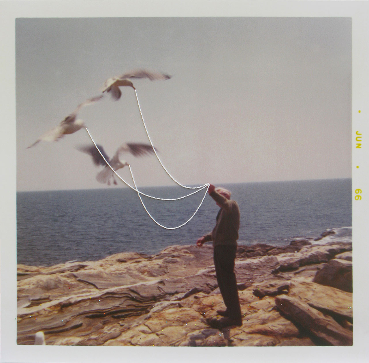 Julie Cockburn, Feed the Birds (Man), 2019. C type print of found photograph, glass beads. © Julie Cockburn, courtesy of Flowers Gallery.