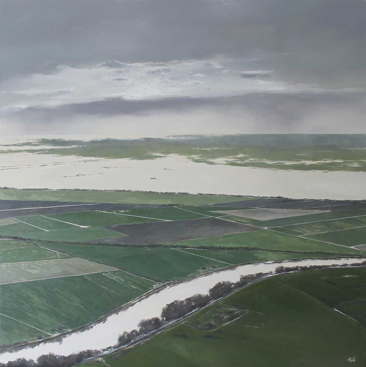 """Adam Hall,See for Miles,30"""" x 30"""", oil on panel. CourtesyRobert Lange Studios and the artist."""