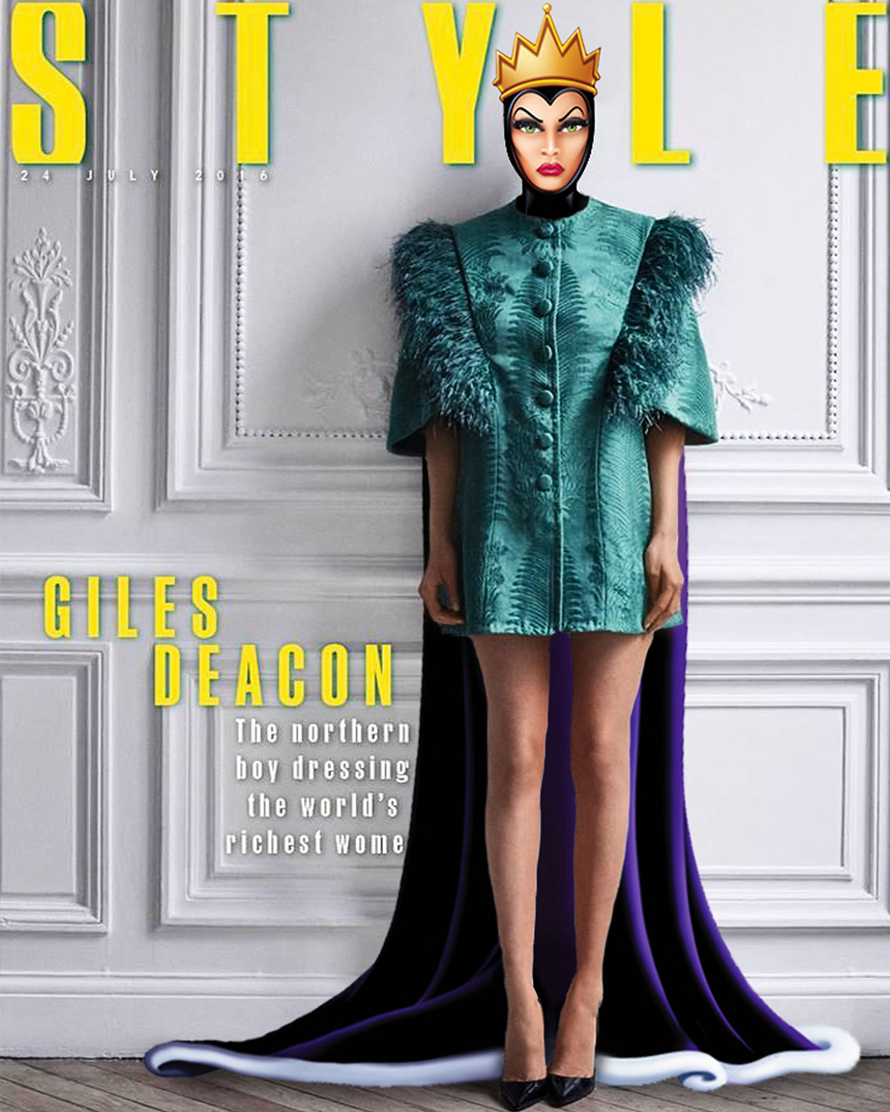 Bella Hadid as Evil Queen in Giles Deacon for The Sunday Times Style. Photographed by Phil Poynter, styled by Katie Eleanor Grand, photo edit by Gregory Masouras.