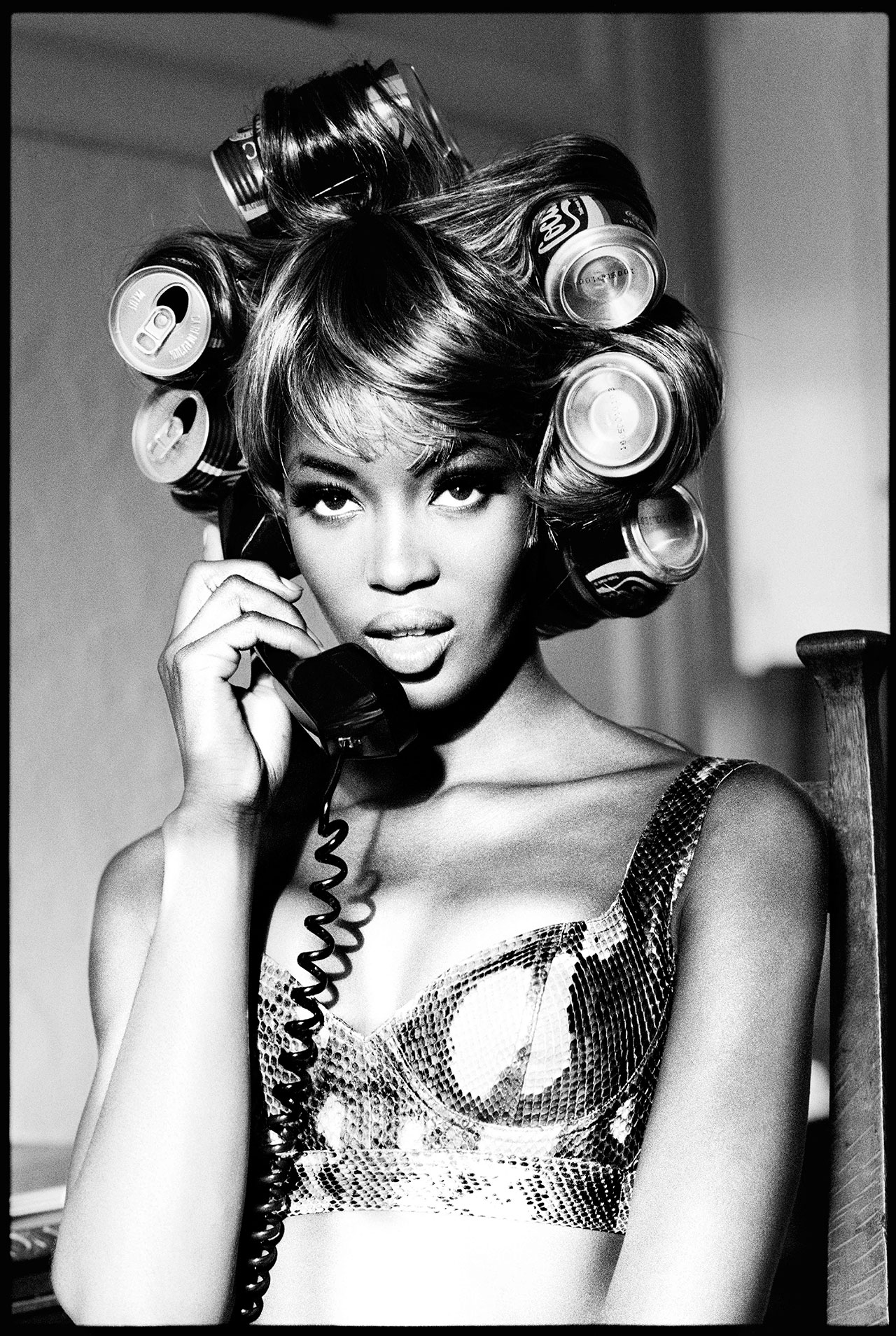 Naomi Campbell wearing Azzedine Alaïa Tati Collection Spring Summer 1991. Photo by Ellen von Unwerth.