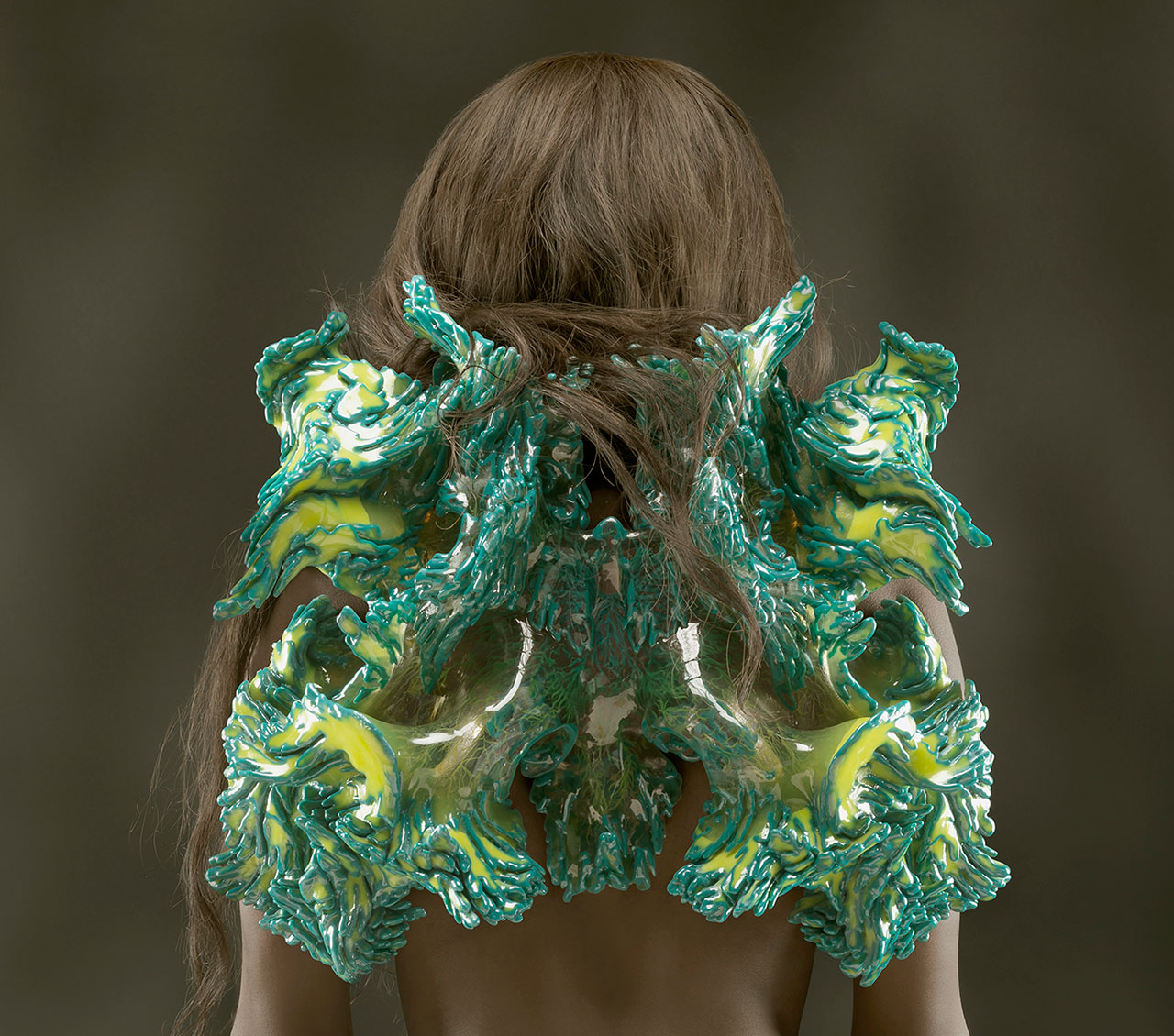 Otaared, from Wanderers collection, 2014. Designed by Neri Oxman and Mediated Matter, MIT Media Lab in collaboration with Stratasys, Ltd. Produced by Stratasys, Ltd. Multi-material 3D print. Courtesy of Stratasys, Ltd. Photo by Yoram Reshef. © Licensed to Neri Oxman only.