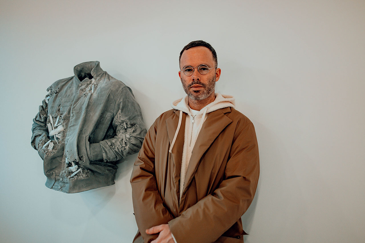 Daniel Arsham, Miami Heat Jacket. Exhibition view at Moco Museum in Amsterdam. Photo by Isabel Janssen.