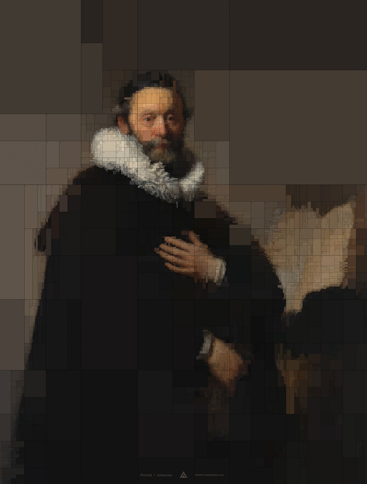 Johannes, from Portraits series by Dimitris Ladopoulos (Original painting - Portrait of Johannes Wtenbogaert by Rembrandt Harmensz van Rijn, 1633).