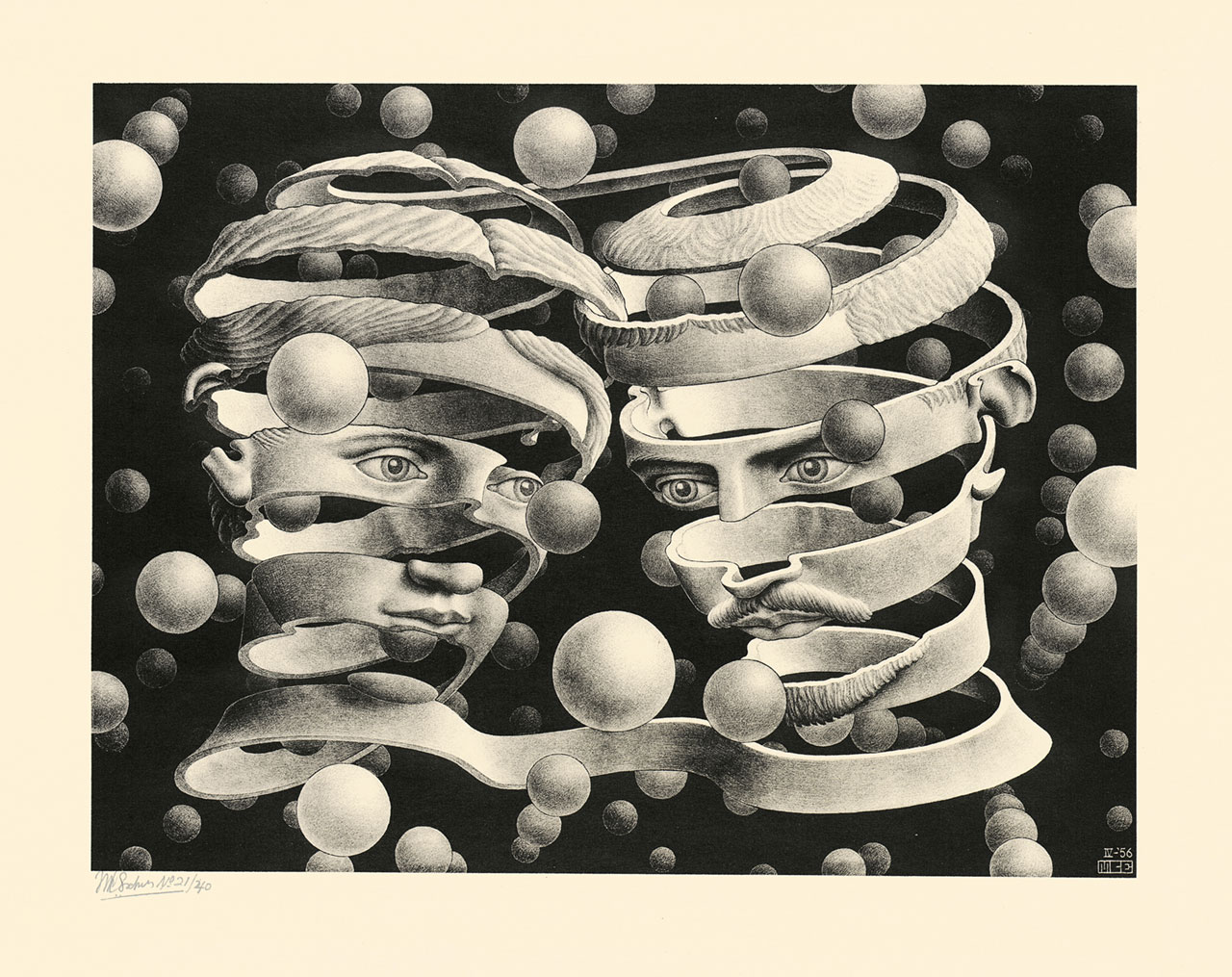 M. C. Escher, Bond of union, April 1956, lithograph. Escher Collection, Gemeentemuseum Den Haag, The Hague, the Netherlands © The M. C. Escher Company, the Netherlands. All rights reserved.