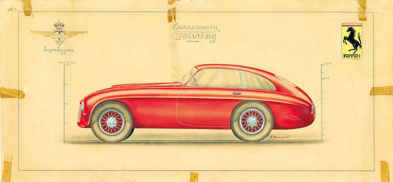 Ferrari 166-195 Sport Coupé MM Figurino a colori 13. Photo courtesy of Ferrari.