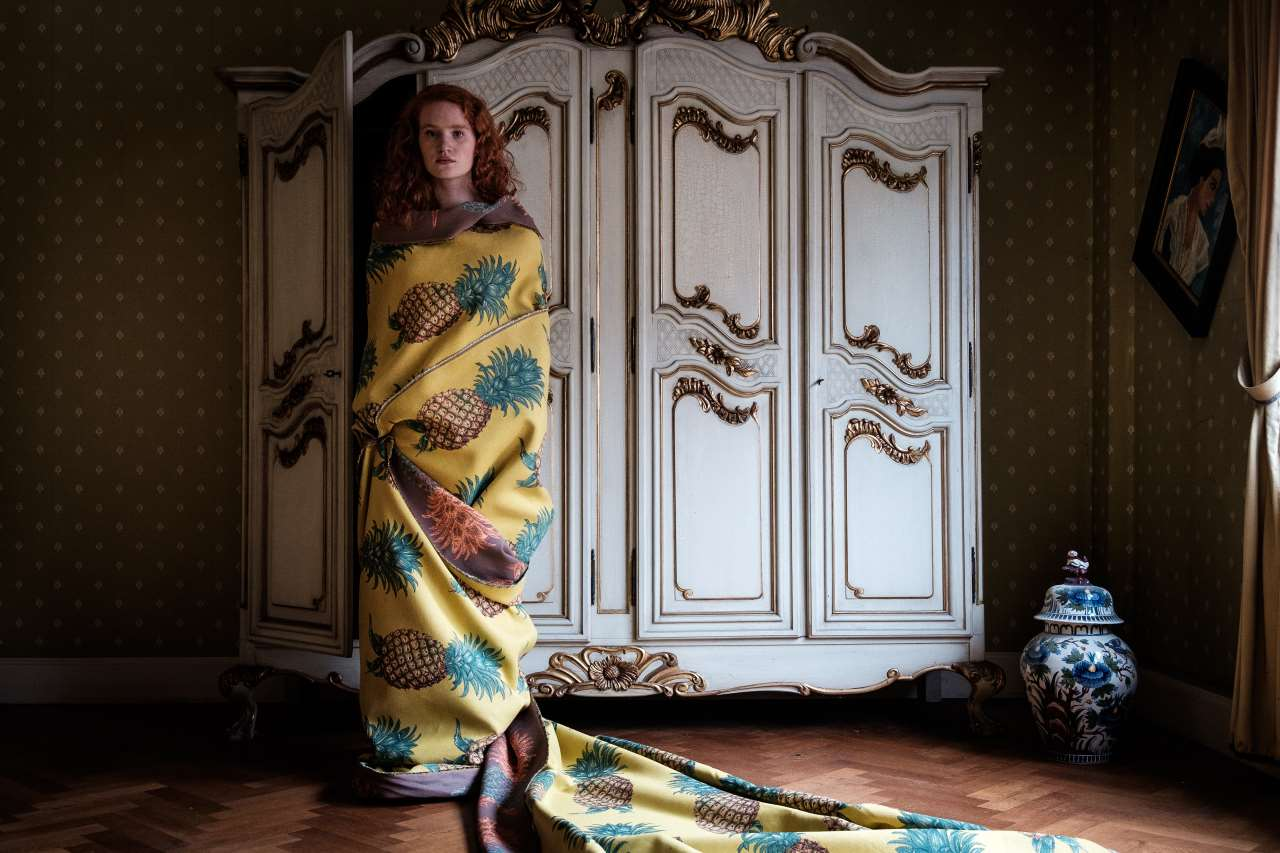 Elisabeth draped in a fabric woven especially for the University Club project, indicative of Demeyer's surrealist expression. Featured in the book 'Fearless Living'. Photo © JPDEMEYER&CO.