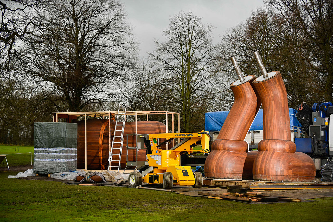 Installation of KAWS sculpture at Yorkshire Sculpture Park, 2016. Courtesy the artist and YSP. Photo © Jonty Wilde.