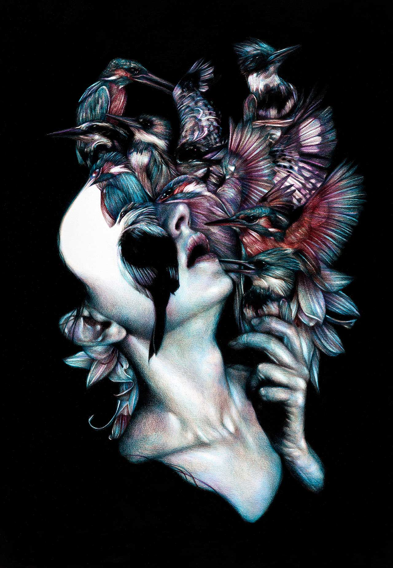 Marco Mazzoni, Kalós, éidos, scopéo, 2012. Colored pencils on paper, 65 x 45cm © Marco Mazzoni.