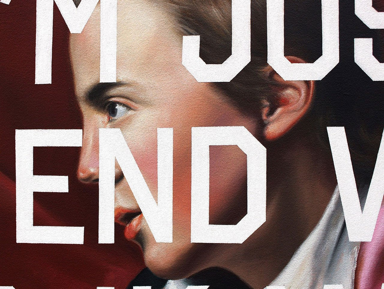Shawn Huckins, Henry Pelham's Jocular Tweet: To Dante - If I'm Just A Friend, Why Do I Know What Your Lips Feel Like? (detail), acrylic on canvas, 44 x 36 in (112 x 91 cm), 2011. Private collection.