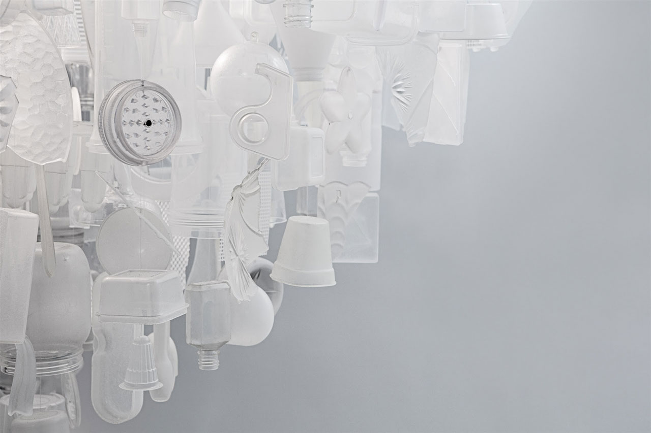 Stuart Haygarth, Tide (clear), 2011. Colourless plastic objects collected from the beaches in the UK, monofilament line. Photo courtesy Carpenters Workshop Gallery.