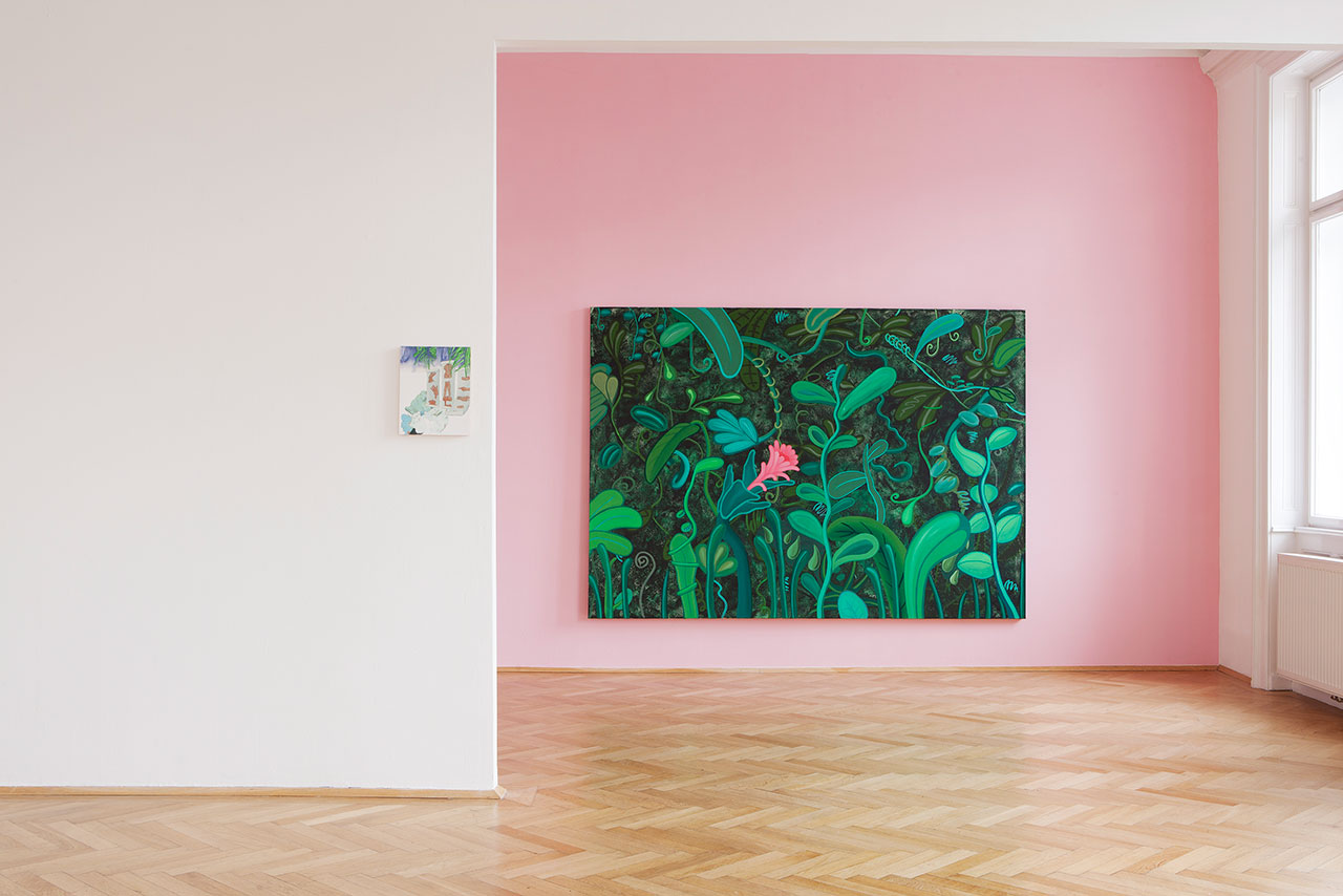 Tropical Punch at Galerie Nathalie Halgand, curated by keen on magazine. Exhibition view, Left: Titania Seidl, Gestures, 2015, oil on wood, 24 x 30 cm. Right: Marianne Vlaschits, I dreamt I was Henriette Rosseau, 2016, Acrylic and Oil on Cotton, 170 x 240 cm.
