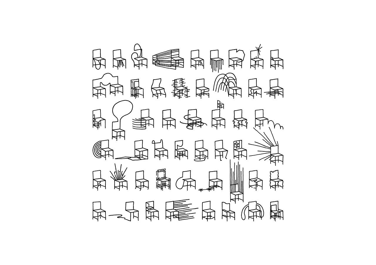 50 manga chairs sketch © Nendo.