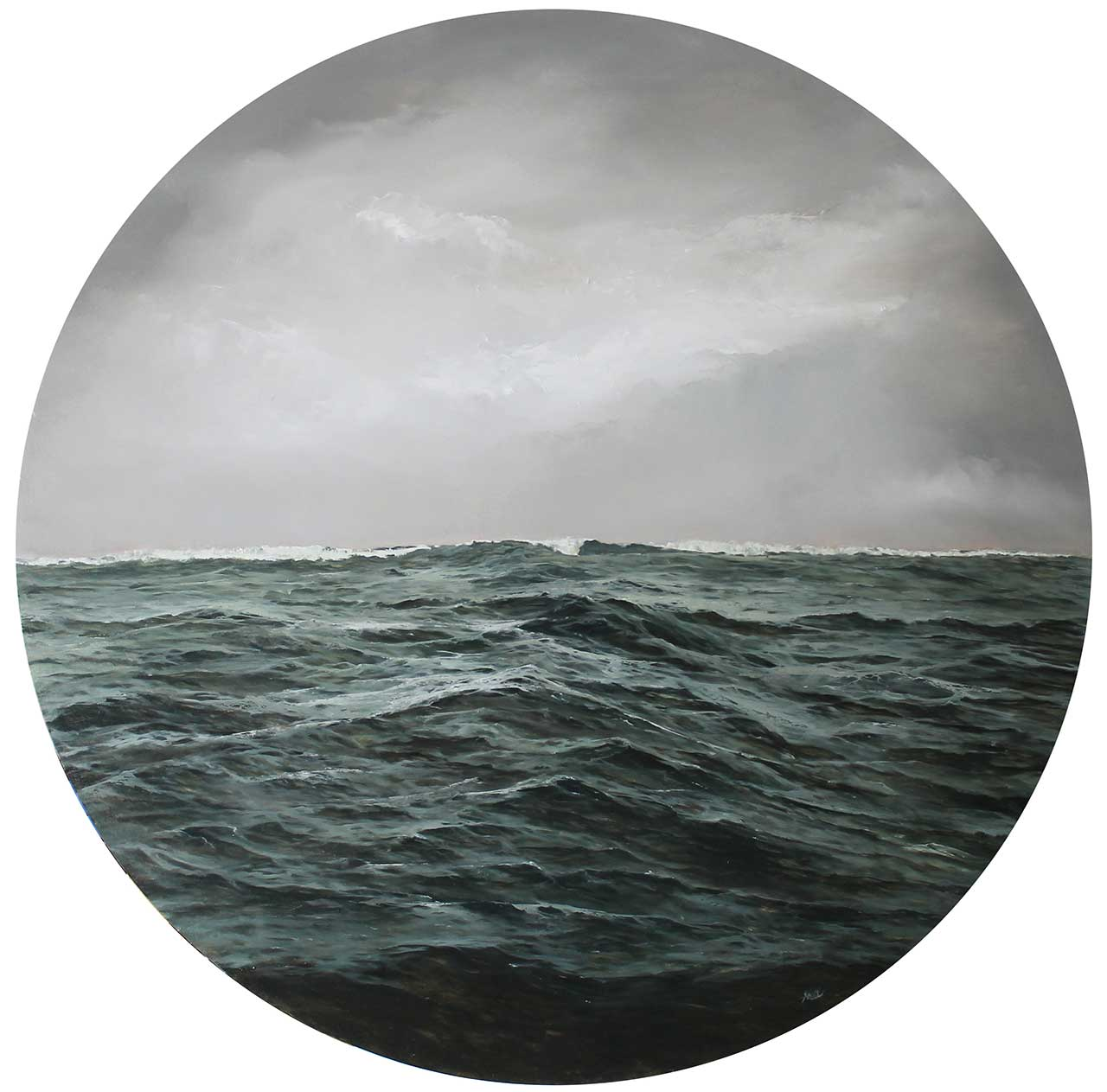 """Adam Hall,Temporary Escape,30"""" x 30"""", oil on panel. CourtesyRobert Lange Studios and the artist."""