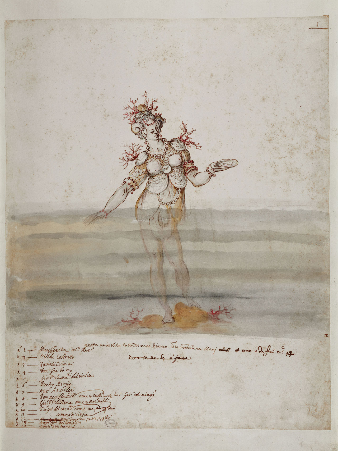 "Sea nymph in Drawings for the costumes of ""La Pellegrina"" by Bernardo Buontalenti, 1589. Florence, Central National Library."