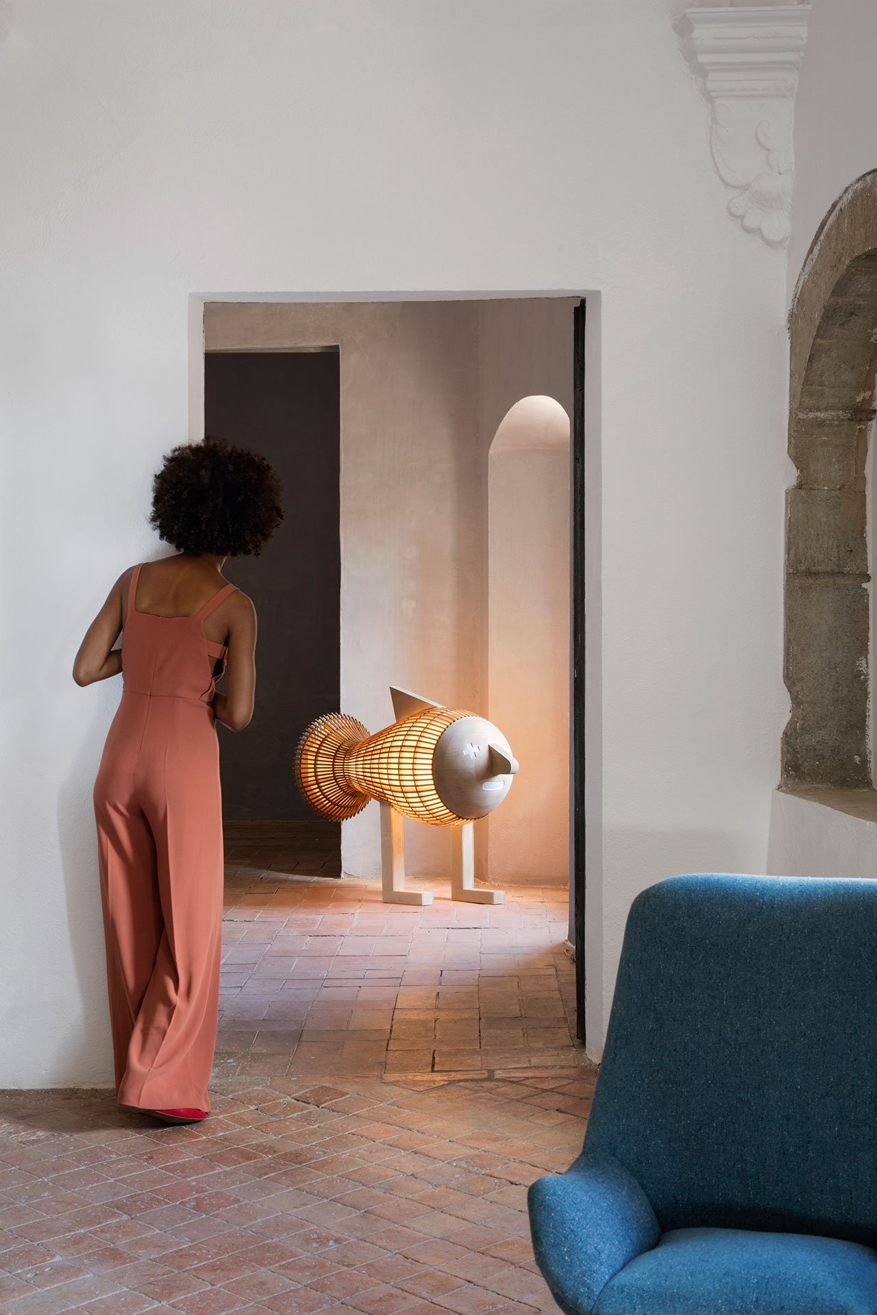 Fish LS floor lamp by Isidro Ferrer, from the Palacio de Casavells photo shoot. Photo by KlunderBie Studio.