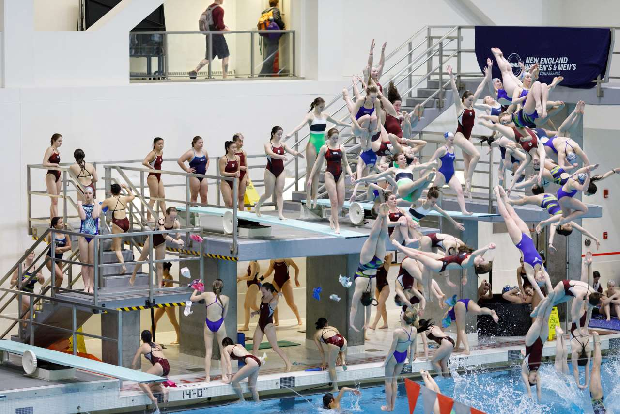 Pelle Cass, Dive Meet from Across Pool, MIT from 'Crowded Field Series', 2018, Cambridge, Massachusetts. © Pelle Cass.