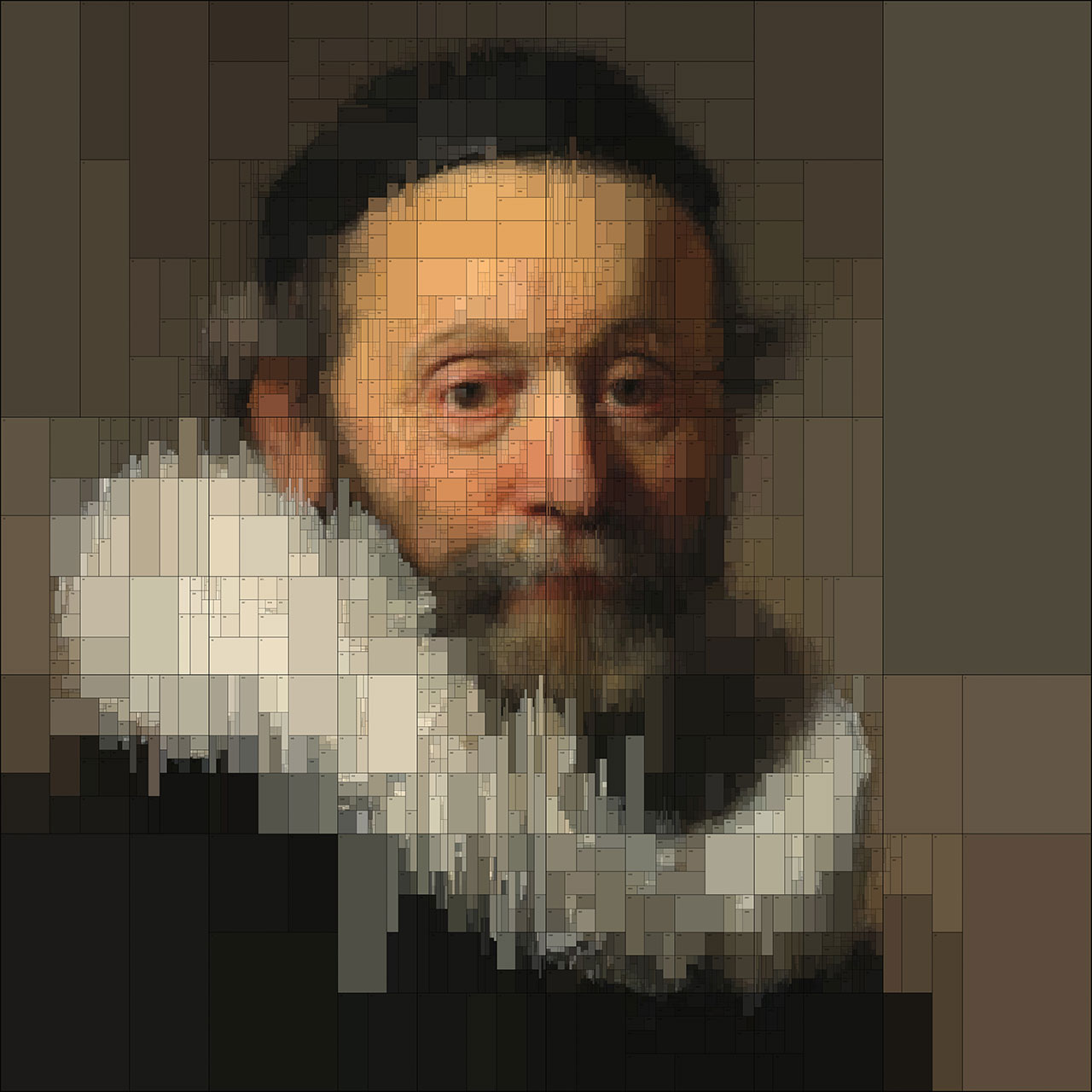 Johannes (detail), from Portraits series by Dimitris Ladopoulos (Original painting - Portrait of Johannes Wtenbogaert by Rembrandt Harmensz van Rijn, 1633).