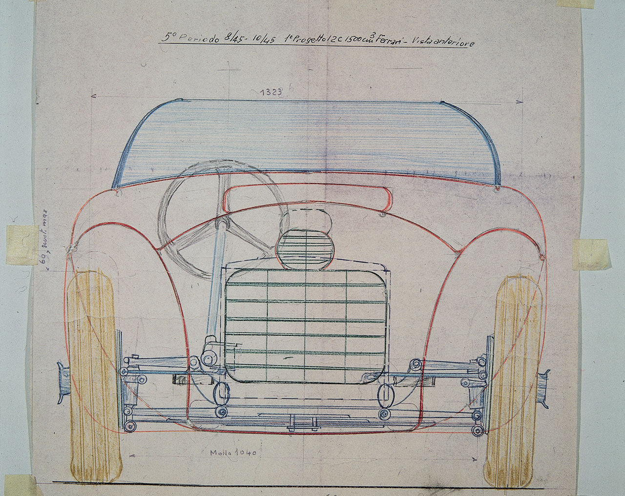 Front View with mechanical transparency of the first Ferrari car, the 125 S. - Project of Gioachino Colombo carried out in August-October 1945.Photo courtesy of Ferrari.