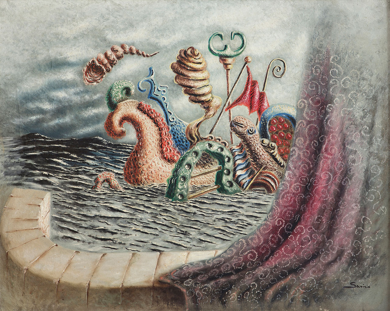 Alberto Savinio, Les Atlantes, 1931, oil on canvas 65 x 80 cm. Private collection. Courtesy ED Gallery, Piacenza. Photo Sergio Amici © Alberto Savinio by SIAE 2018.