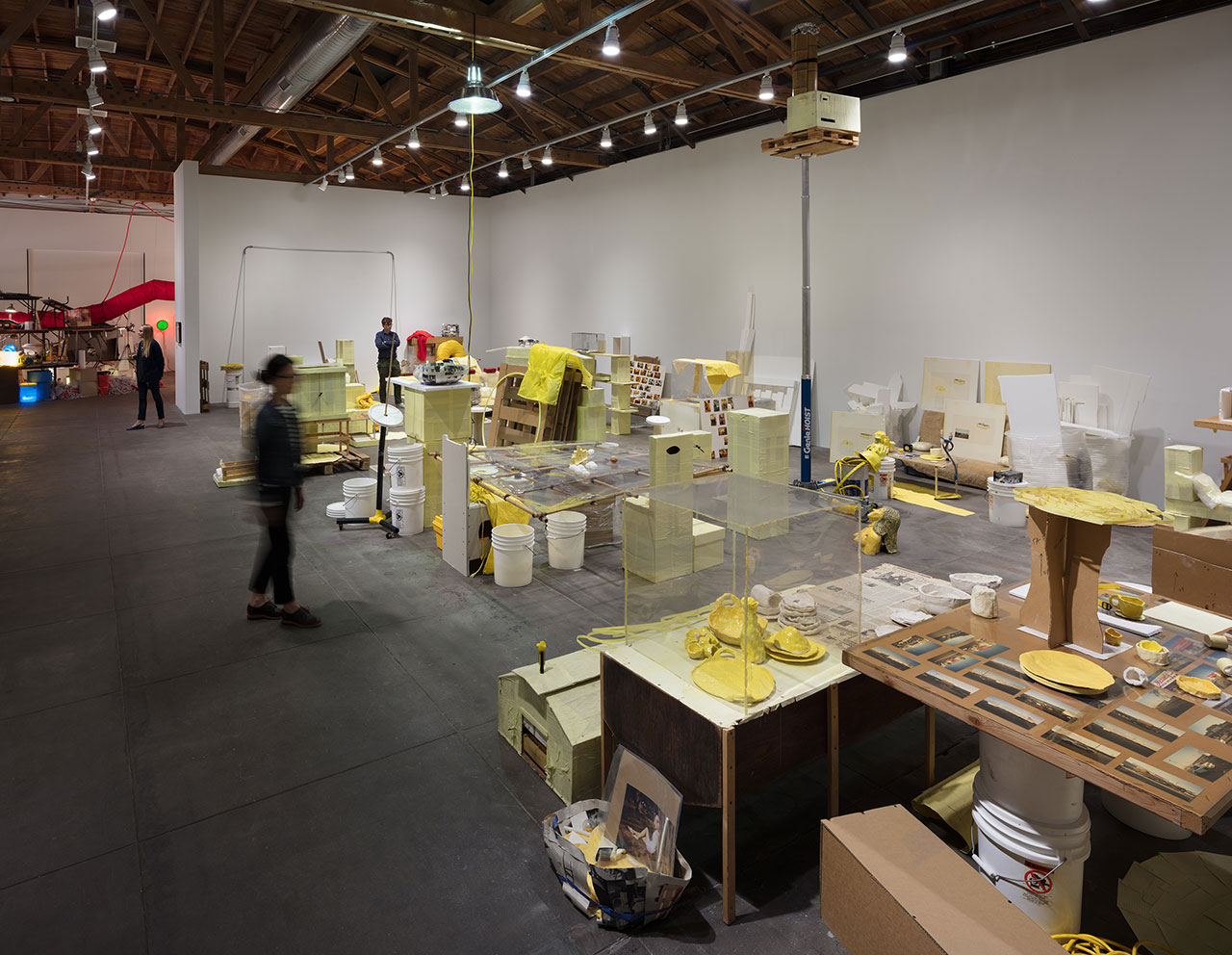 Jason Rhoades, Swedish Erotica and Fiero Parts, 1994. Mixed media. Dimensions variable. Installation view, 'Jason Rhoades. Installations, 1994 – 2006'. Hauser & Wirth Los Angeles, 2017 © The Estate of Jason Rhoades. Courtesy the estate, Hauser & Wirth, Private Collection, Switzerland and lenders. Photo by Fredrik Nilsen.