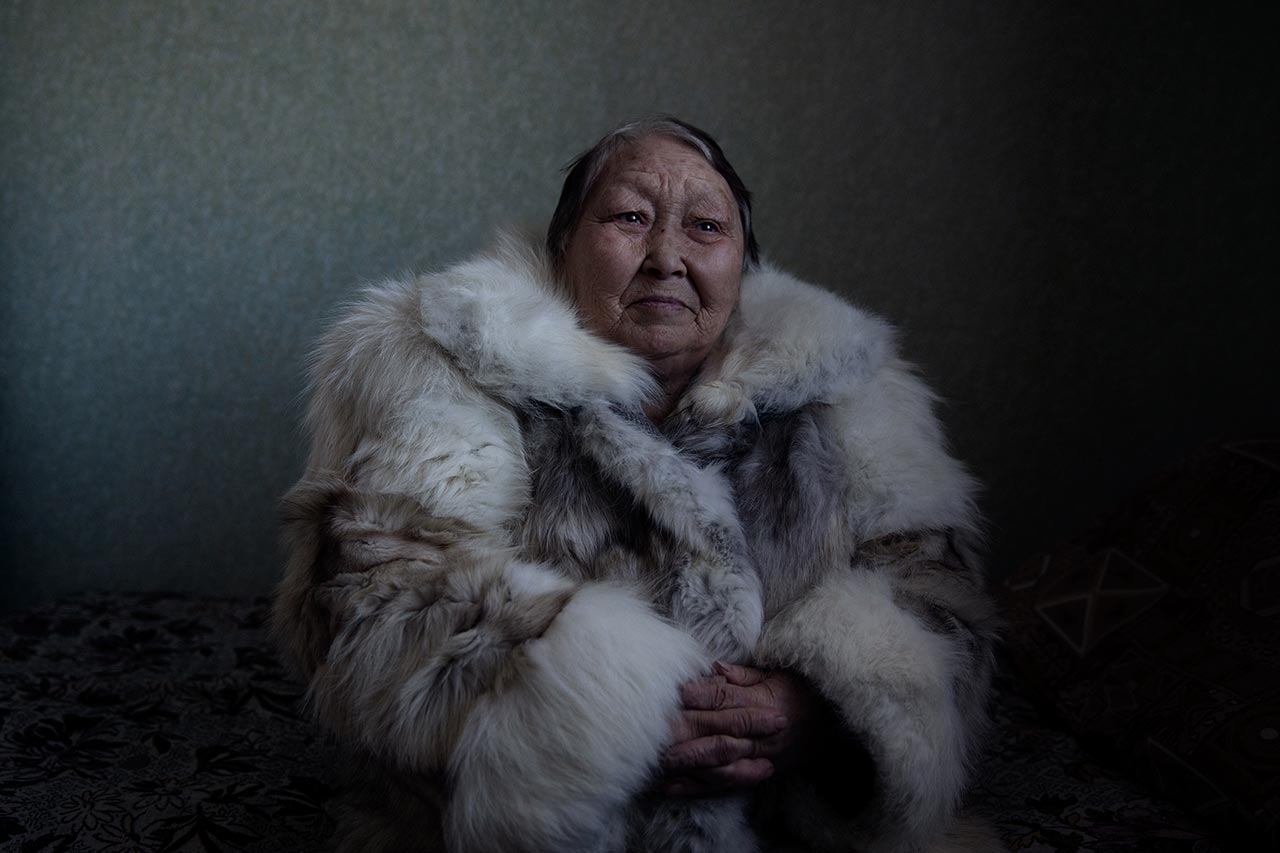 Angelina Serotetto (Born.1942). Yar-Sale, Yamalo-Nenets Autonomous Okrug, Russia. Angelina was part of a family of shaman women, and her mother taught her to read the future using sacred objects from nature. Photo © Oded Wagenstein.