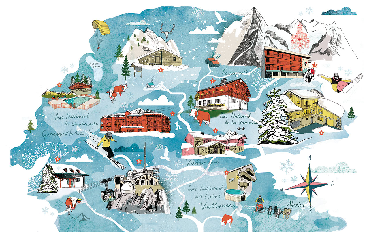Tonwen Jones - Mont Blanc Map1, Mont Blanc Region, France, published: Le Monde magazine, France, 2014. From 'Mind the Map', © Gestalten 2015.
