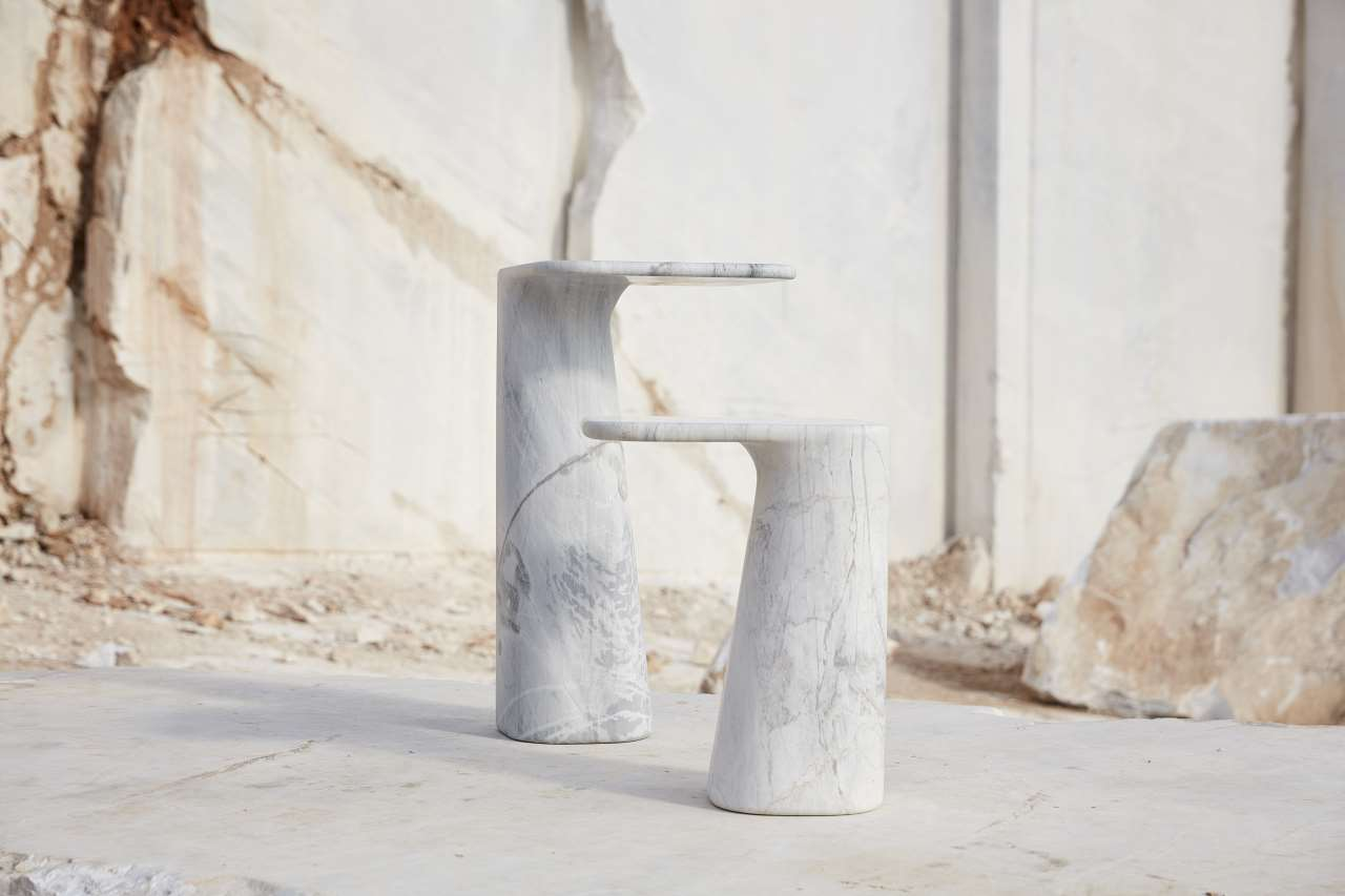Hurlysi designed by Thomas Coward, Elba marble. Hurlysi Low - 400 x 400 x 500mm. Hurlysi High - 400 x 400 x 720mm. Part of New Volumes collection by Artedomus. Photo by Sean Fennessy.