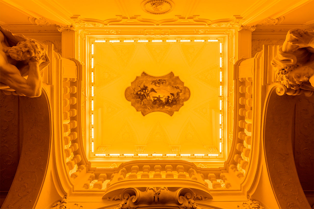Olafur EliassonYellow corridor, 1997Monofrequency lights The Winter Palace of Prince Eugene of Savoy, Vienna 2015 Photo by Anders Sune BergCourtesy of The Juan & Patricia Vergez Collection, Buenos Aires© Olafur Eliasson.