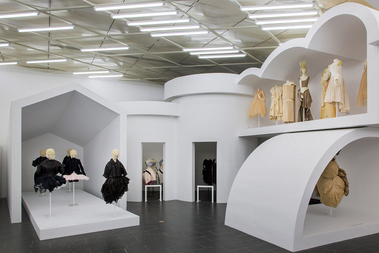 Rei Kawakubo/Comme des Garçons: Art of the In-Between. Gallery View, (from left) High/Low, Model/Multiple, Fashion/Antifashion, Design/Not Design © The Metropolitan Museum of Art