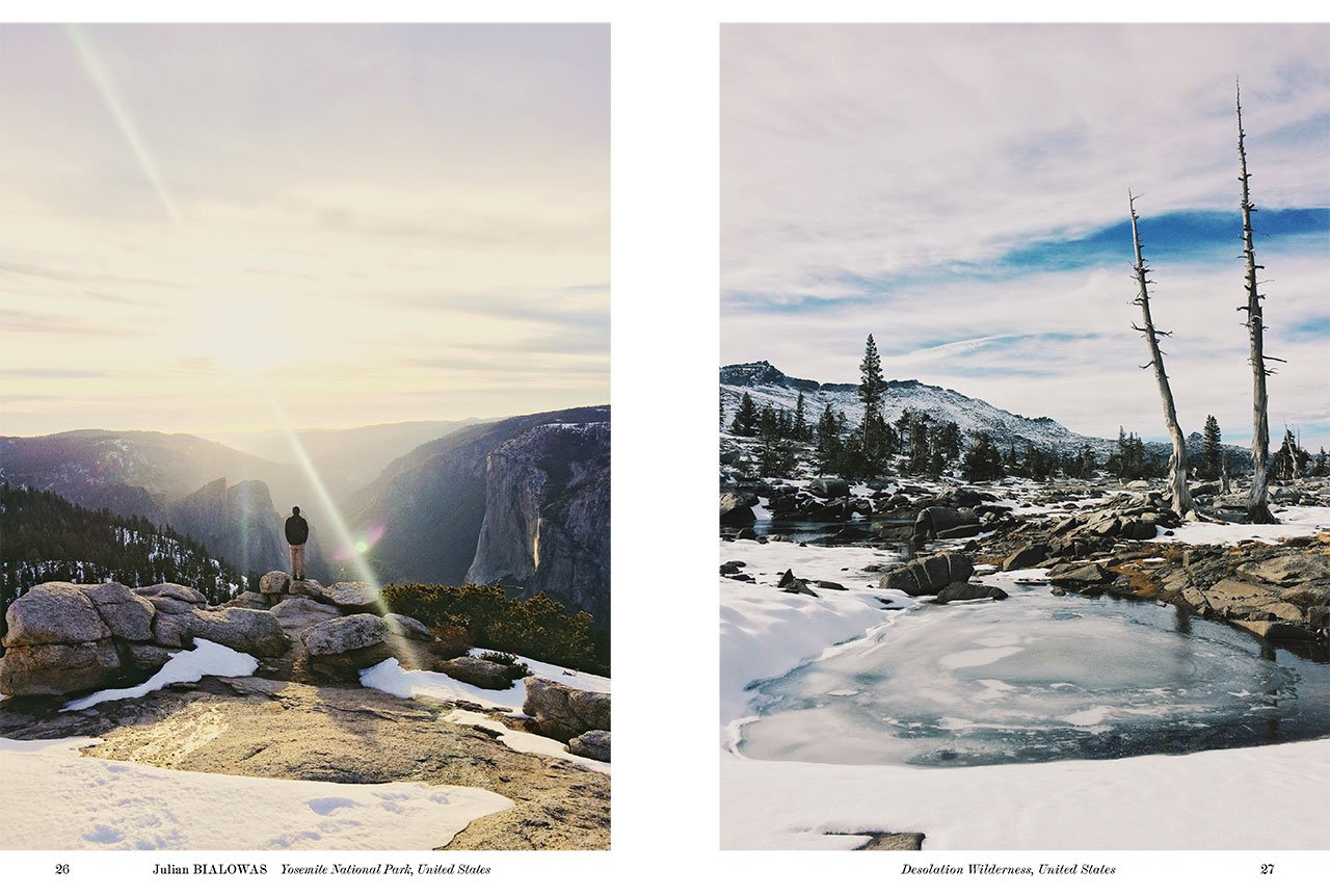 Left: Yosemite National Park, United States. Right: Desolation Wilderness, United States. Photo by Julian Bialowas, from 'The Great Wide Open', © Gestalten 2015.
