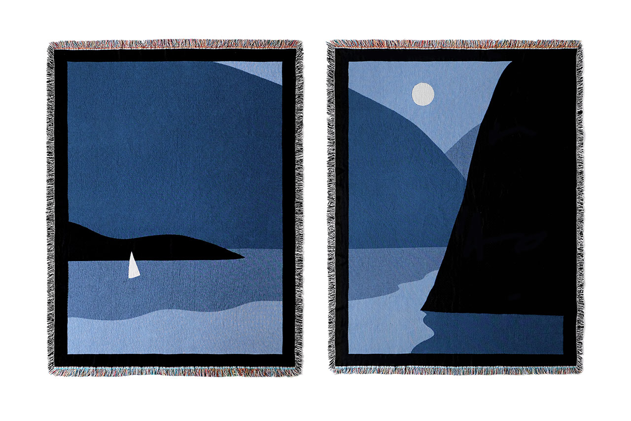 Thomas Danthony, Lake Blankets, Woven, 100% cotton. The two blankets each mesure 70 x 54 Inches (137 x 178 cm). © Thomas Danthony.