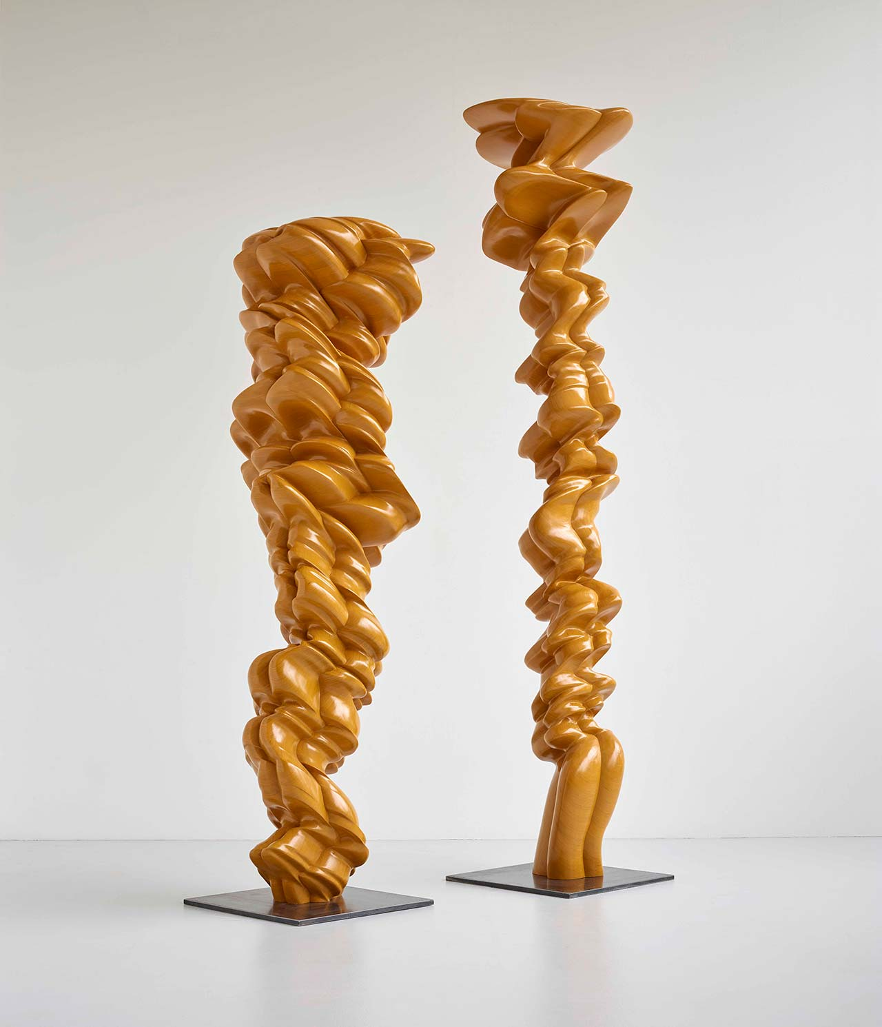 Tony Cragg, Pair,2014. Wood, 410 x 99 x 76cm, 329 x 92 x 127cm. Photoby Michael Richter.© VG Bild-Kunst Bonn 2016.