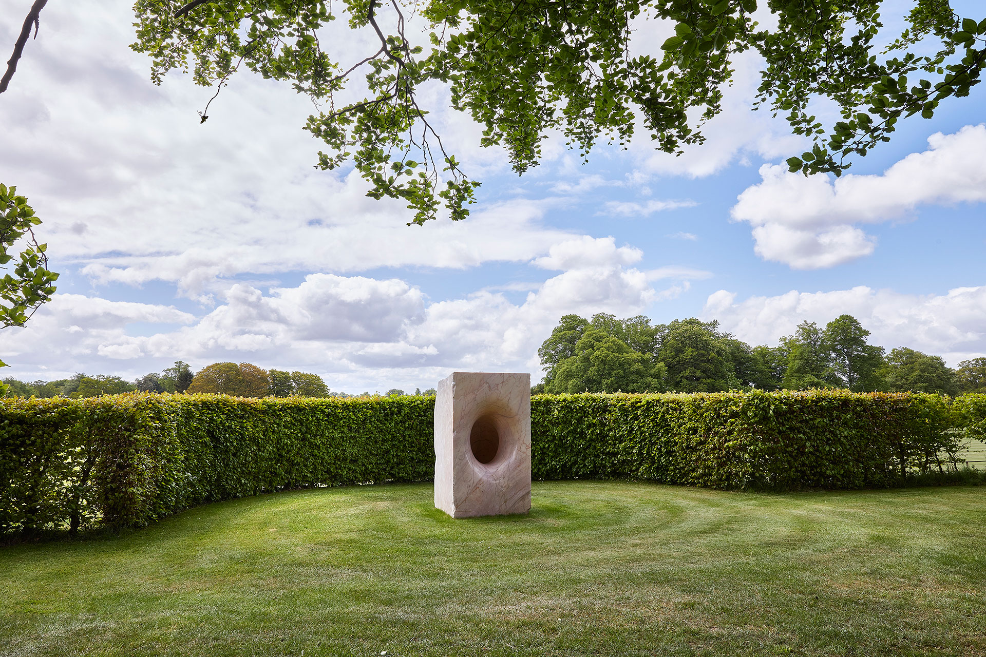 Exhibition view, Anish Kapoor at Houghton Hall. © Anish Kapoor. All rights reserved DACS, 2020. Photo by Pete Huggins. Featured: Sophia, 2003, marble. Courtesy the artist.