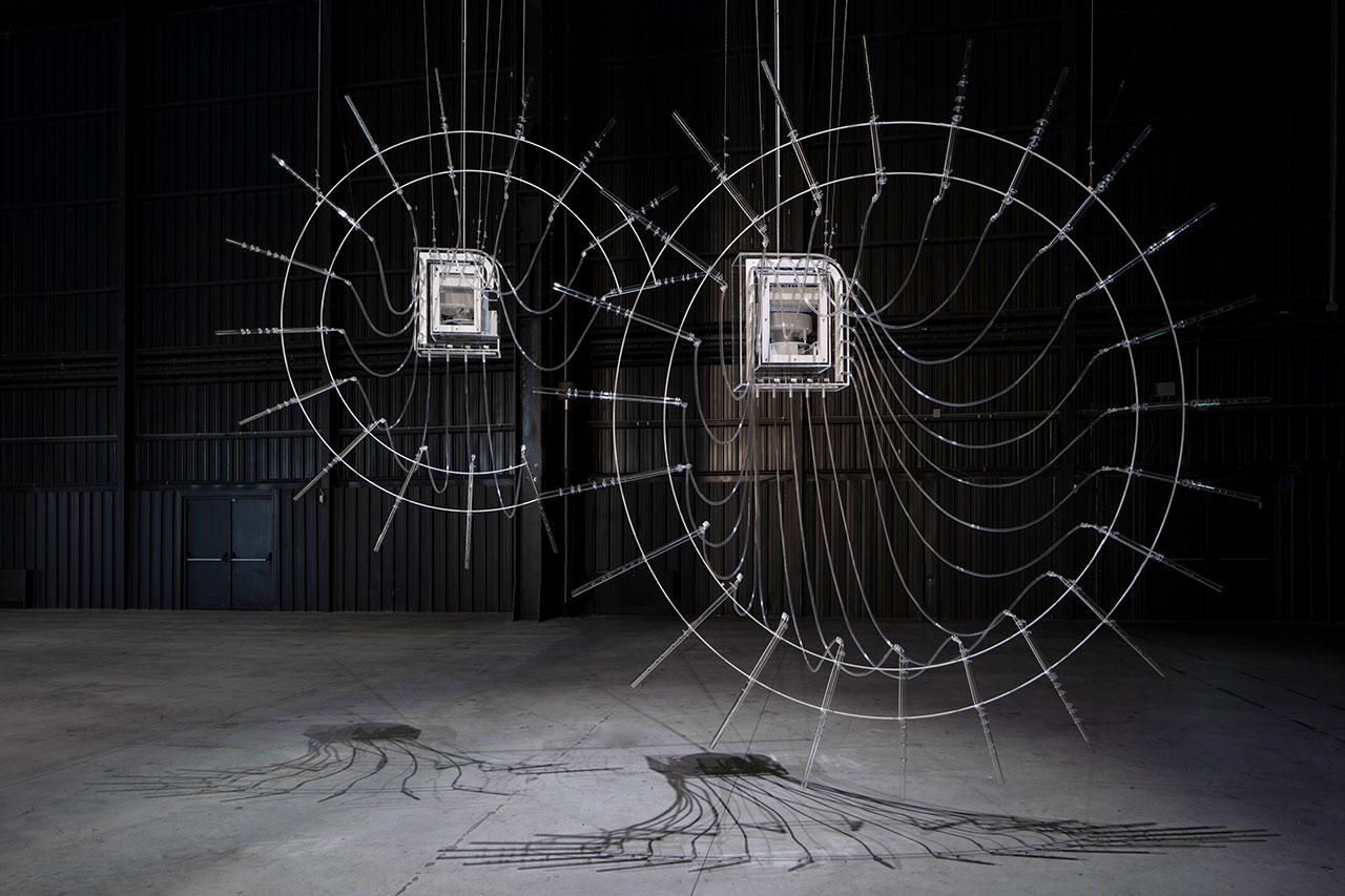 Cerith Wyn Evans,Composition for 37 Flutes (in two parts), 2018. Installation view at Pirelli HangarBicocca,Milan, 2019.Courtesy of the artist; Amgueddfa Cymru –National Museum Wales and PirelliHangarBicocca.Photo: Agostino Osio.