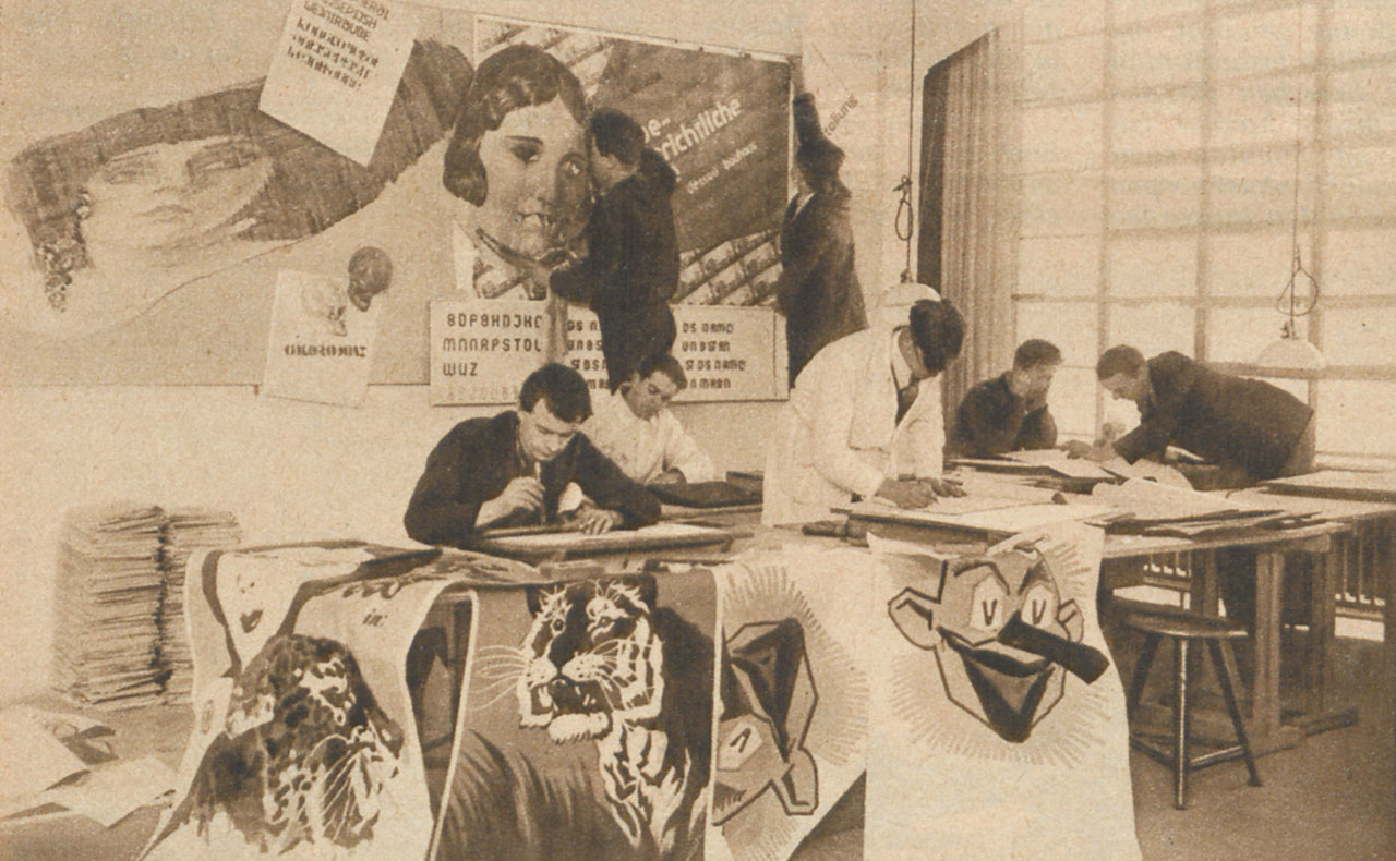 Advertising workshop, Bauhaus Dessau, 1926 (unknown photographer, source: Bibliothek der Friedrich-Ebert Stiftung).
