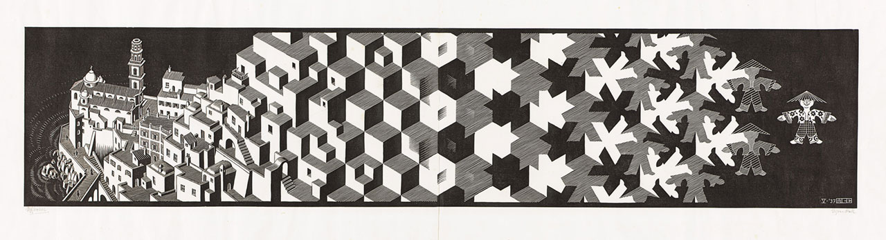 M. C. Escher, Metamorphosis I, May 1937, woodcut on two sheets. Escher Collection, Gemeentemuseum Den Haag, The Hague, the Netherlands © The M. C. Escher Company, the Netherlands. All rights reserved.