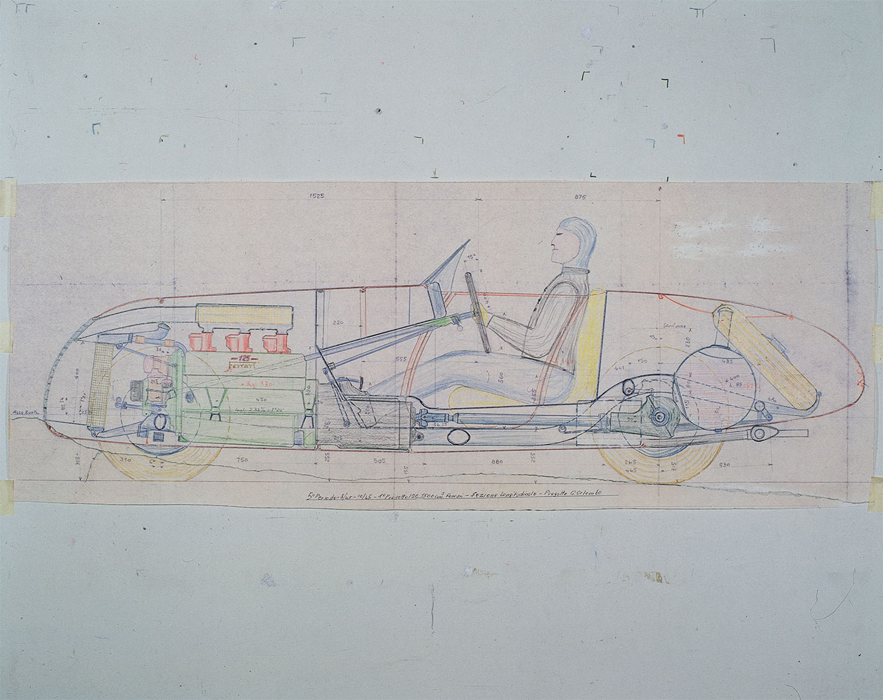Side view with the mechanics in the transparency of the first Ferrari car, 125 S. - Gioachino Colombo's project executed in August 1945. Photo courtesy of Ferrari.
