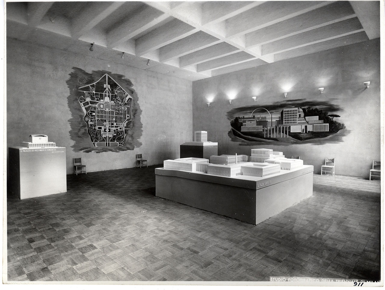 Architectural models for the Esposizione internazionale di Roma, exhibit at the VII Triennale di Milano, 1940. Section 1: The E42, Olimpiade della civiltà, in the architecture exhibition. Photographic Archive © La Triennale di Milano Foto Crimella.