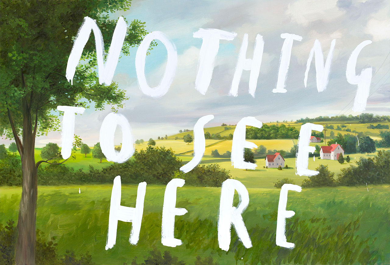 Nothing To See Here part 1 2013 Oil and enamel on canvas 86 x 127 cm © Oliver Jeffers.