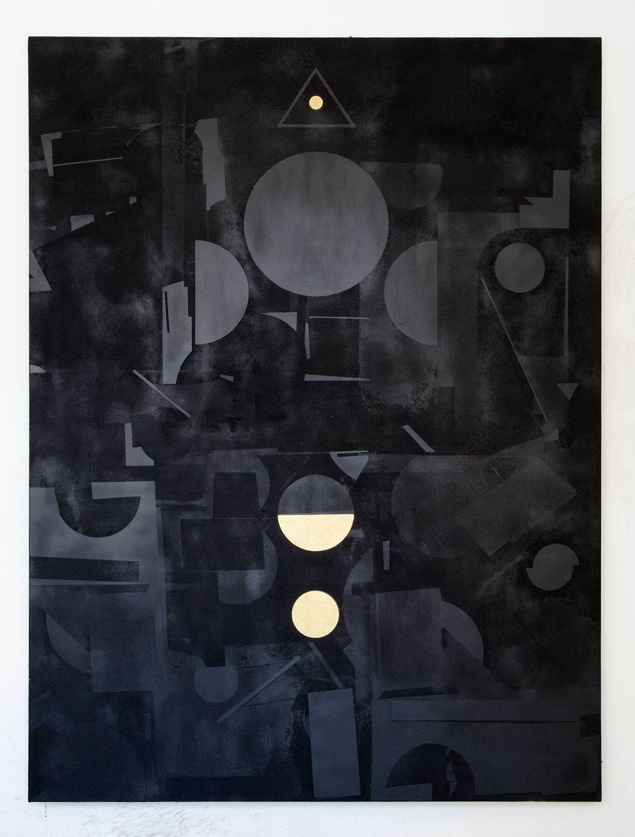 Panos Tsagaris, There is no word or action that does not have its echo in eternity, gold leaf, acrylic paint, spray paint and silkscreen on canvas, 200x150 cm, 2016. Courtesy of the artist and Kalfayan Galleries, Athens-Thessaloniki.