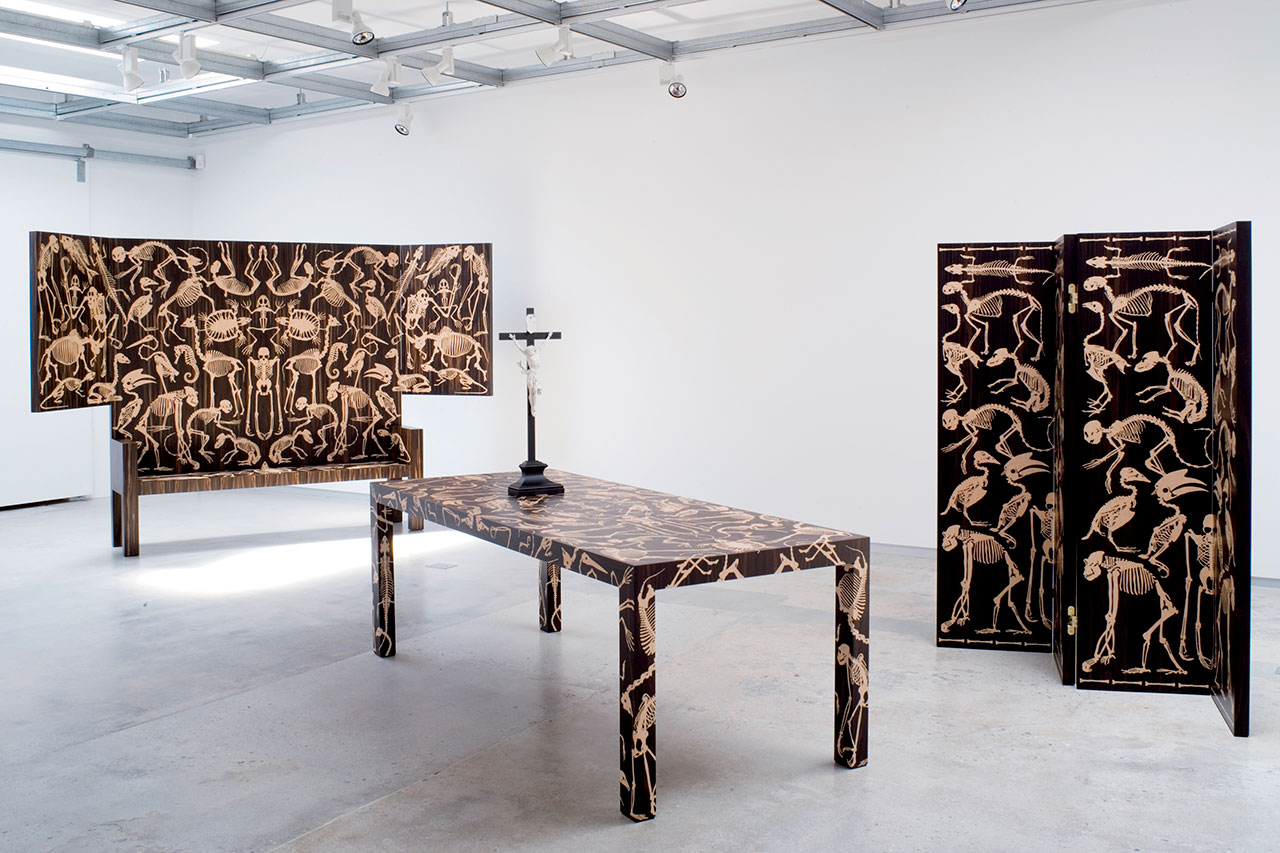 Perished Collection (Bench, Table and Screen), 2006. Hand-crafted Furniture in Macassar Ebony Wood With Laser-cut Bird's Eye Maple Inlays © Moss.