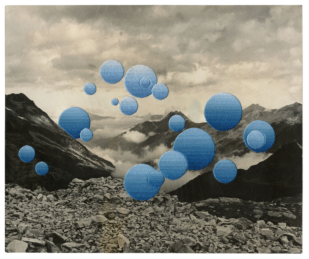 Julie Cockburn, Moonscape, 2019. Hand embroidery on found photograph. © Julie Cockburn, courtesy of Flowers Gallery.