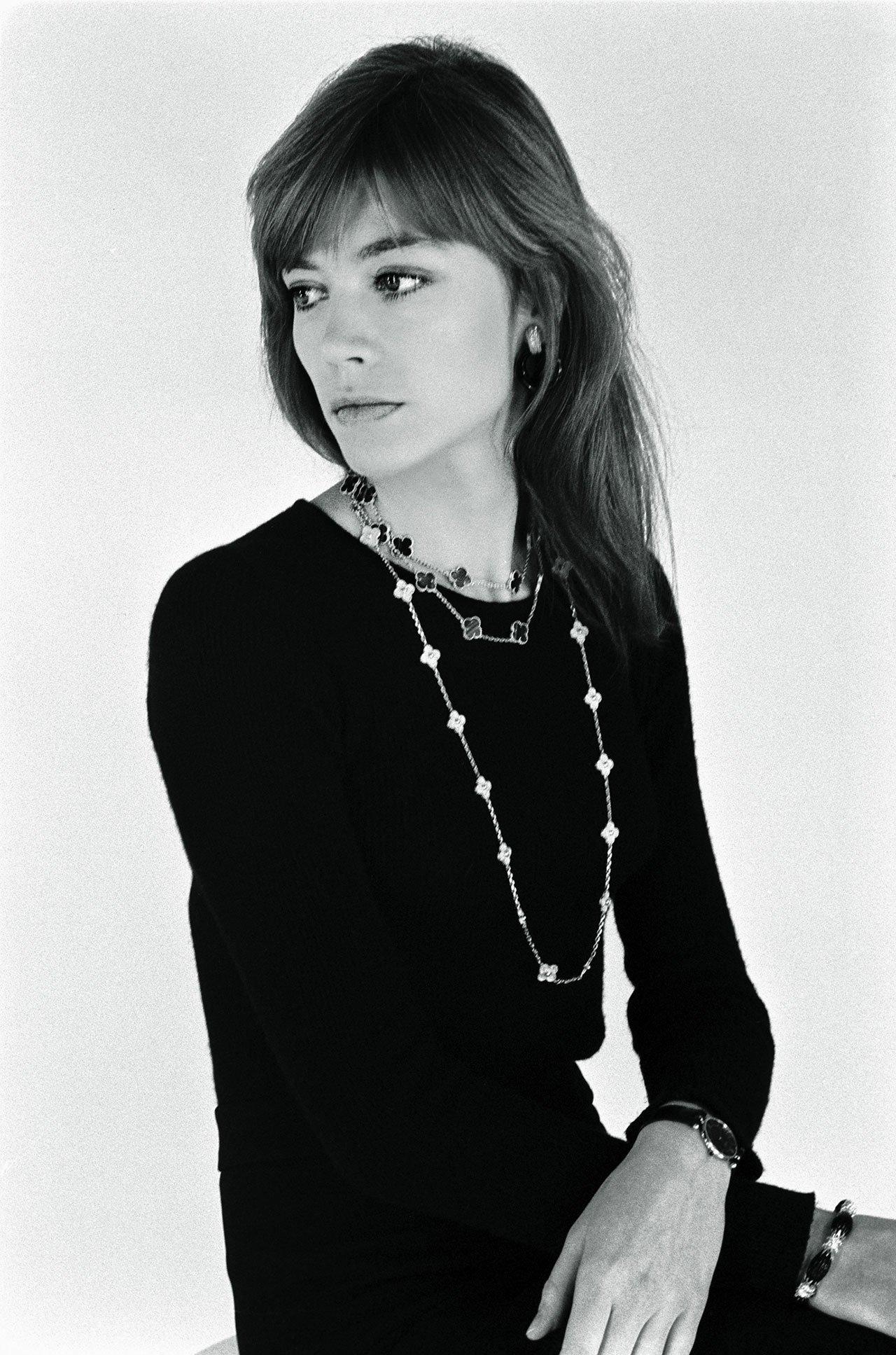 Françoise Hardywearing Alhambra collection necklaces photographedbyCatherine Rotulo, 1974.© Catherine Rotulo.