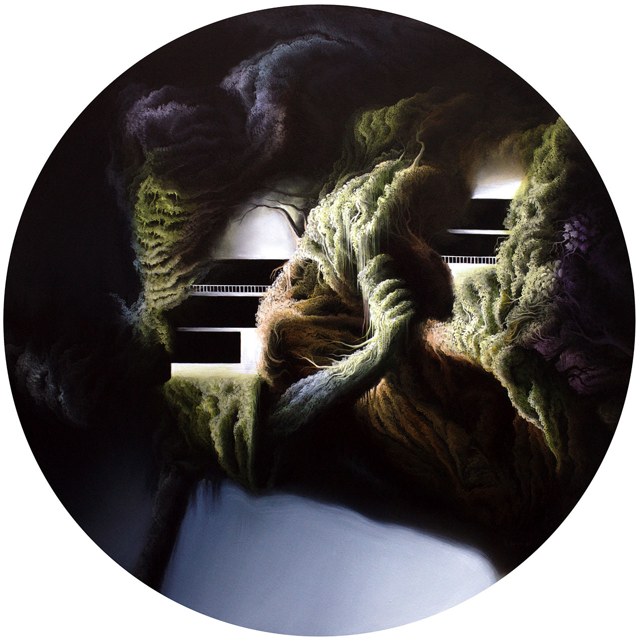 Vasilis Avramidis, Rooms, 2015, 50cm diameter, oil on wood.