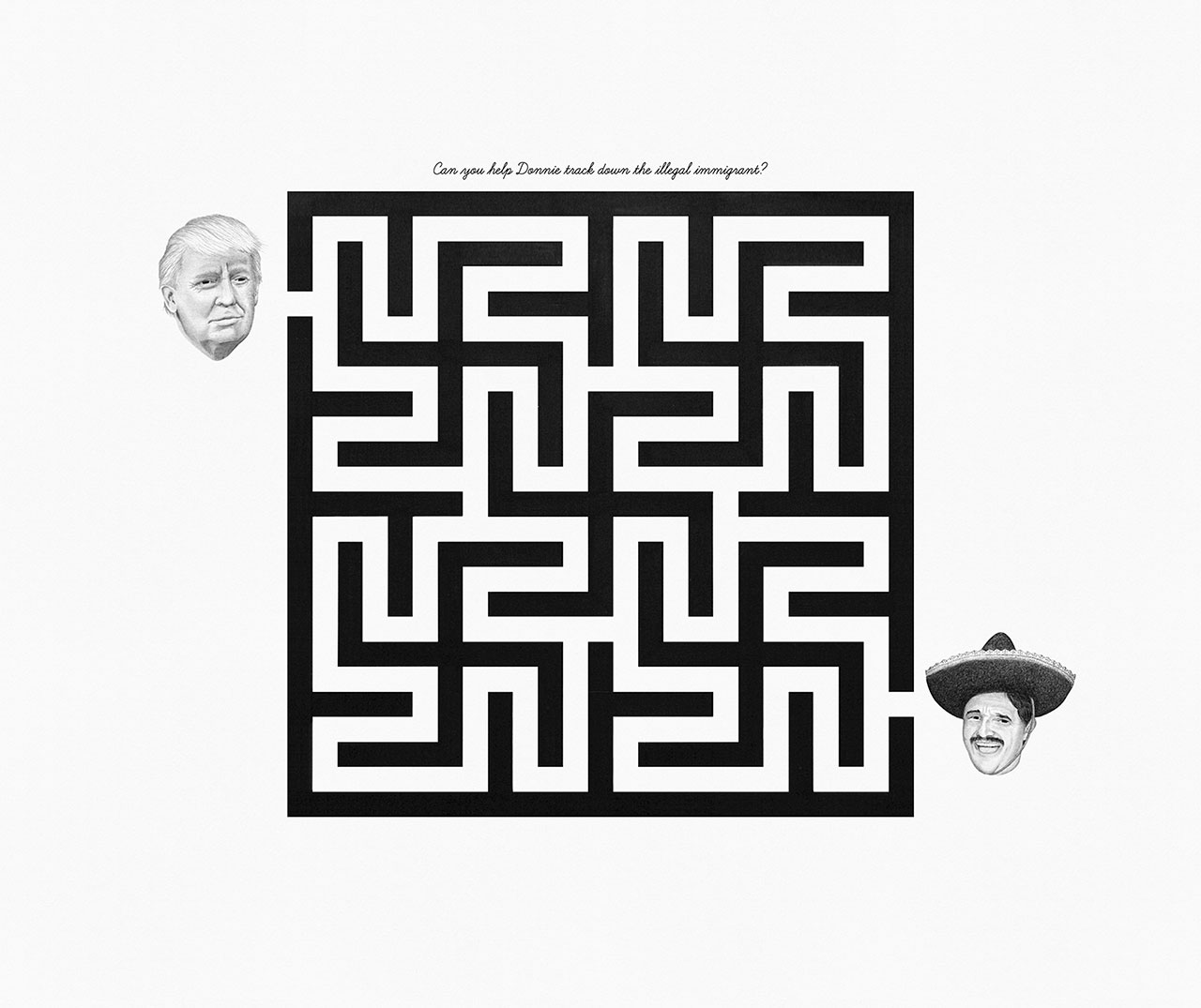 William Fort, A-MAZE-ING (Can you help Donnie track down the illegal immigrant?), Pen & pencil on paper 60 x 70 cm. © William Fort.