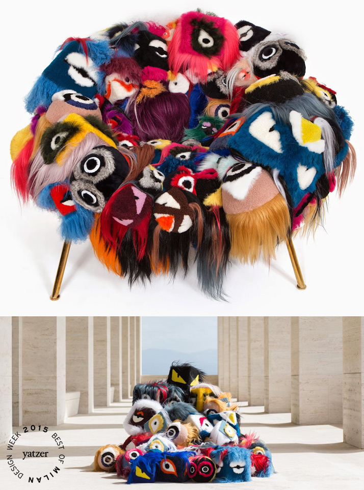 The Armchair Of Thousand Eyes (more than 100 Fendi bag-bugs) by Campana Brothers for FENDI. Fendi's much-beloved bag bugs have been reinterpreted by Fernando and Humberto Campana.
