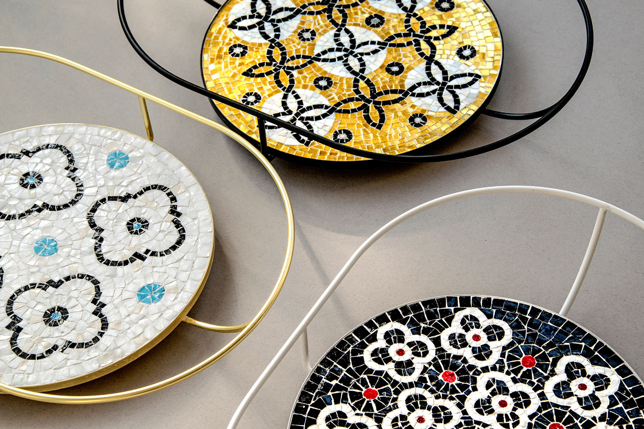 Flore mosaic tray collection by Davide G. Aquini and Ursula Corsi.